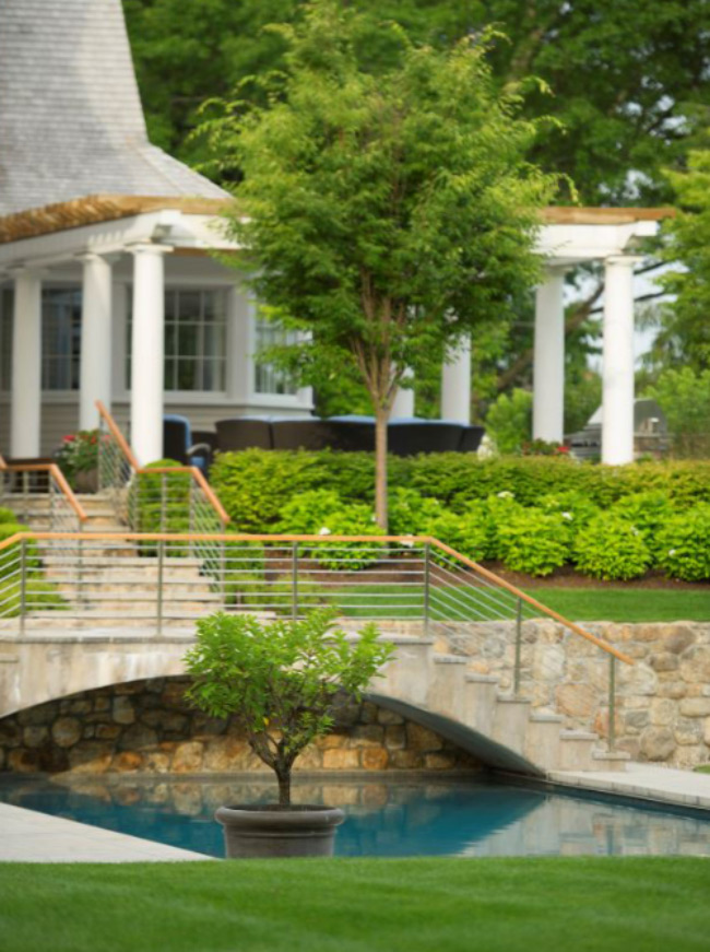 The LaurelRock Company - Residential Landscaping in CT - Green Farms - Pool Bridge