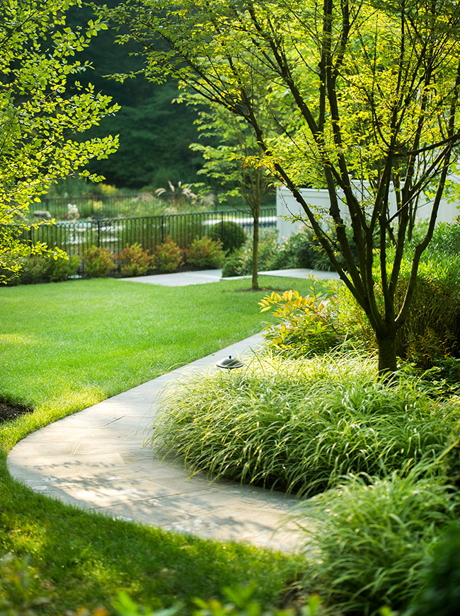 The LaurelRock Company - Residential Landscaping in CT - Back Country Manor - Winding Garden Path