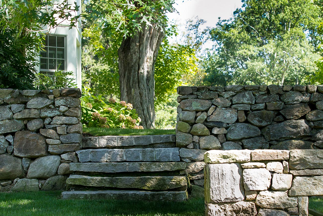 The LaurelRock Company - Residential Landscaping in Wilton CT - High Meadow Farm - Stone Walls and Masonry